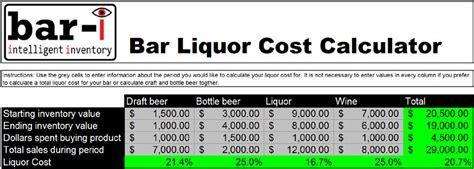 Liquor Cost Spreadsheet by Liquor Cost Calculator