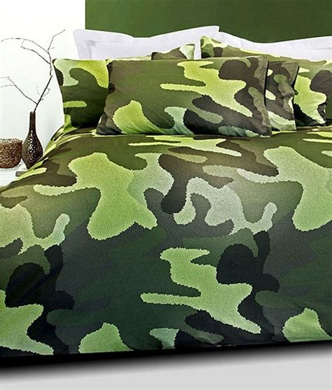 Camouflage Quilt Cover by Camouflage Army Green Grey Soft Feel Microfibre King Doona