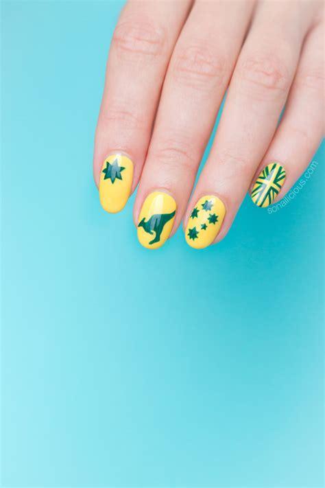 green  yellow australia day nail art