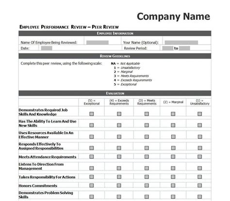employee evaluation template excel images daycare crafts employee performance review