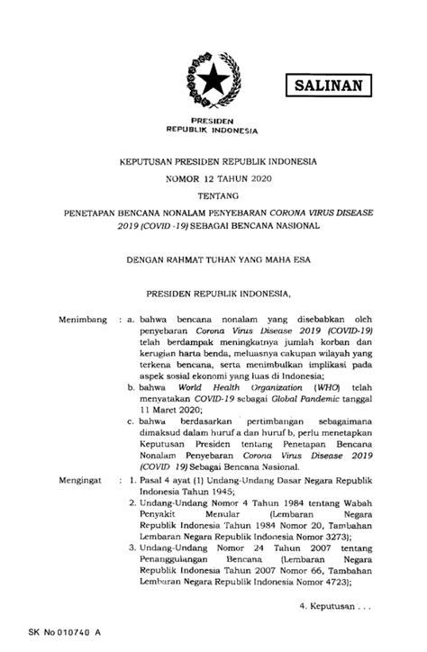 Jokowi Tetapkan Virus Corona Sebagai Bencana Nasional