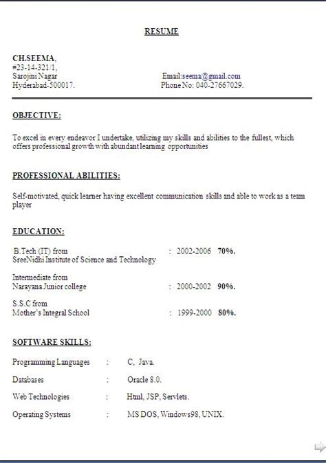 Best Resume Formats For Experienced by Simple Curriculum Vitae Sample