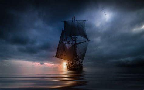love boat theme hd landscape nature sea clouds sunset sailing ship
