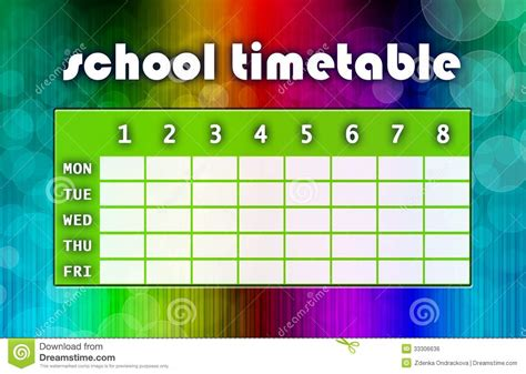 multicoloured timetable royalty free stock image image