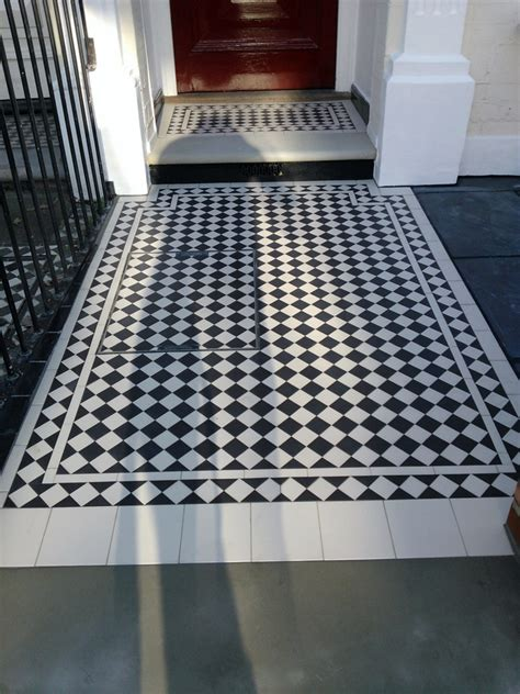 black and white victorian mosaic tile path london london garden design