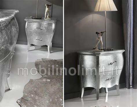 comodini argento comodino 2 cassetti foglia argento