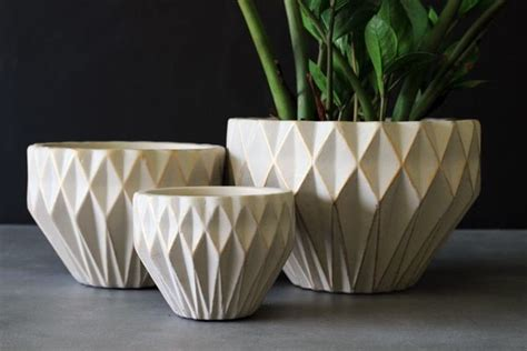 Indoor Flower Planters by Set Of 3 Geometric Plant Pots Ivory Gold Modern