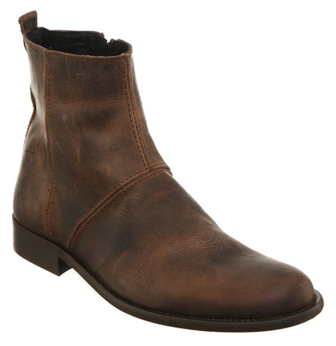 leather boots mens ask the missus atlas zip boot brown leather boots ebay