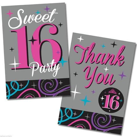 16 birthday card templates birthday sweet 16 birthday invitations templates