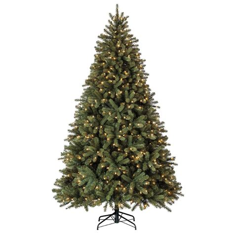lowes christmas trees artificial pre lit living 7 5 ft 1833 count pre lit balsam fir artificial tree with constant 600
