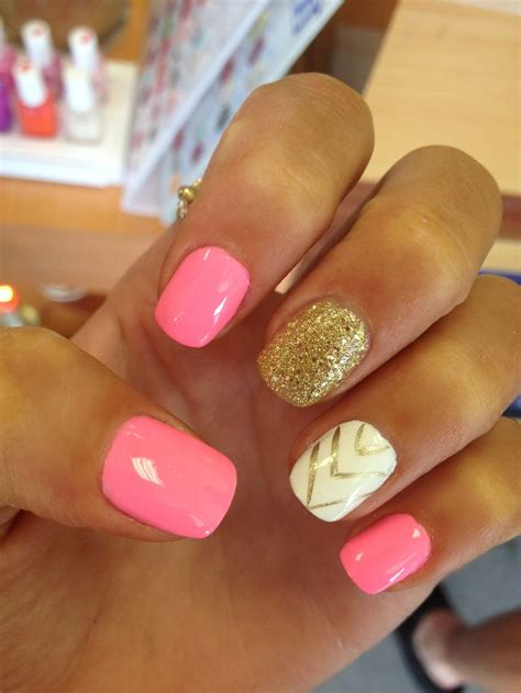 acrylic nail pink and gold acrylic nails nails acrylics