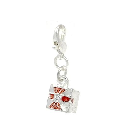 Present Silver Charm With Pink Cubic Zirconia P 1174 enamel cubic zirconia gift box present clip on charm