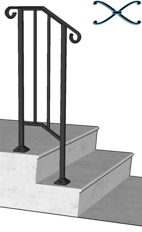 2 Stair Handrail New Iron X Handrail Railing Picket Rail Fits 1 Or 2 Steps