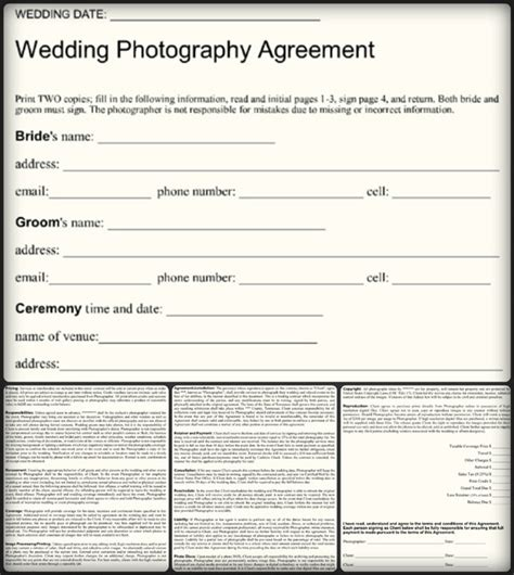 5 Sle Wedding Photography Contract Templates Word Pdf Wedding Photography Contract Template Word