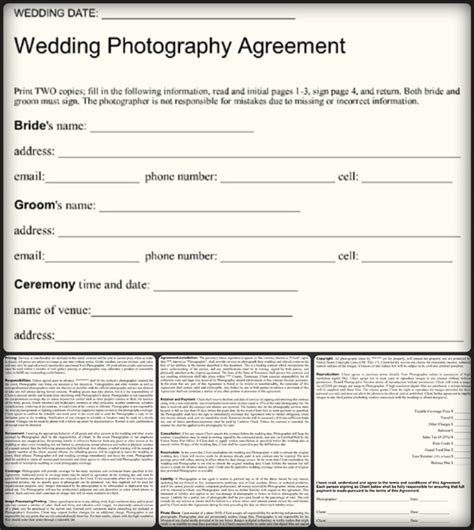 5  Sample Wedding Photography Contract Templates {Word PDF}