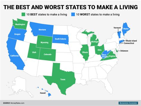 best places to live in the usa the stars of the states the best and worst states to make a living business insider