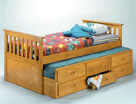 pull out trundle bed homelegance tahoe natural finish captain bed with pull out