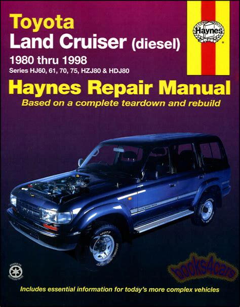 free service manuals online 2004 toyota land cruiser engine control land cruiser shop manual diesel service repair toyota book haynes hj guide 80 98 ebay