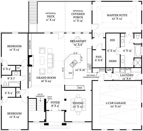 Ranch House Plans With Split Bedrooms by One Story House Plan With Split Bedrooms Ranch Floor