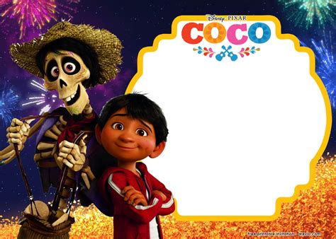 coco theme song free printable disney coco birthday invitation templates
