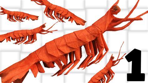 Shrimp Origami - origami shrimp king prawn tutorial yagob part 1 2