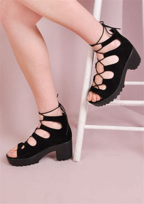 lace up sandal heels lace up cleated platform chunky heel sandals black