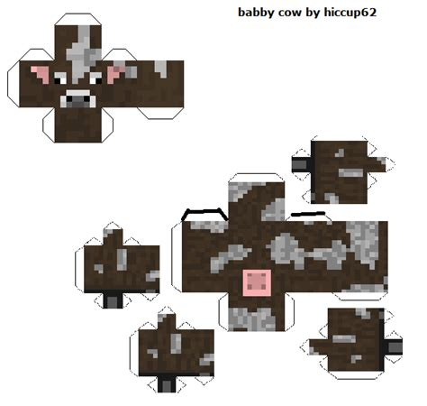minecraft cow template papercraft baby cow