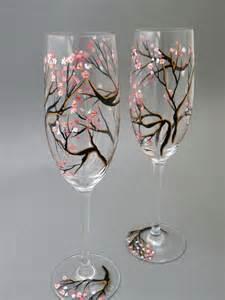 Flute wine bottles painting wine glasses painting wedding glasses