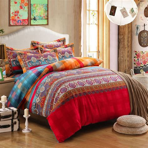 orange and turquoise bedding turquoise orange and red colorful bohemian style tribal stripe paisley print romantic