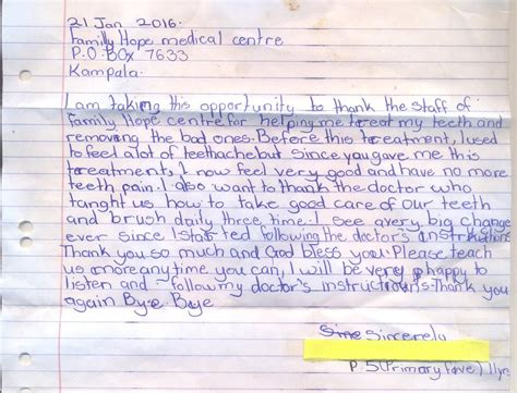 Thank You Note For Dental Dental Project S Impact Is Amazing Childrens Aids Fundchildrens Aids Fund