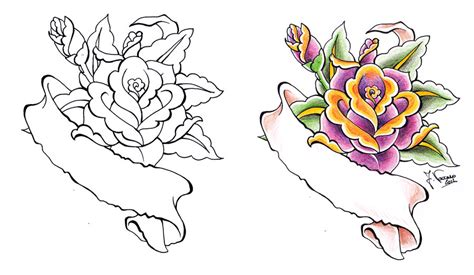scroll with roses tattoo scroll by kauniitaunia on deviantart