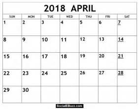 April Calendar Printable Pdf April 2018 Calendar Printable Template With Holidays Pdf
