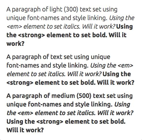 how to set weights and styles with the font declaration