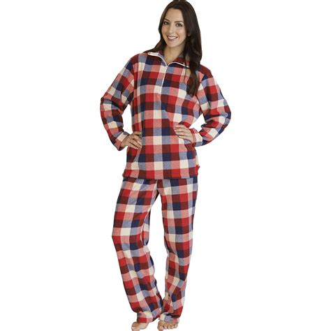 Curtains Cream Womens Slenderella Checked Micro Fleece Pyjamas Ladies