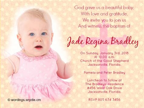 Invitation Letter Sle For Christening Baptism Invitation Wording Sles Wordings And Messages