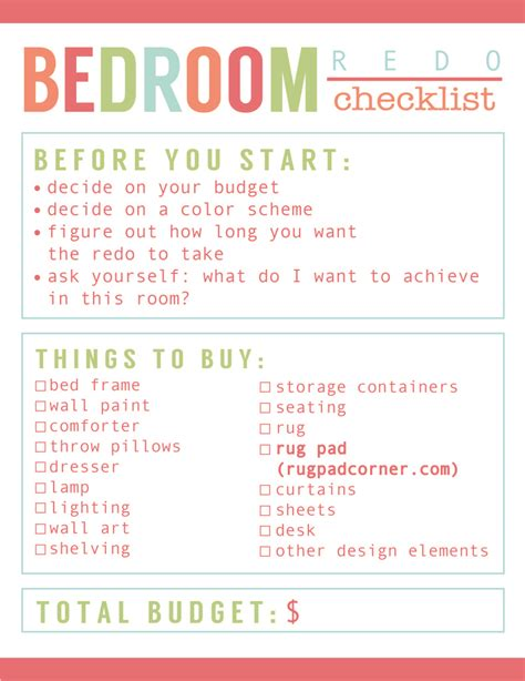 bedroom cleaning checklist room redo checklist best rug pads ever