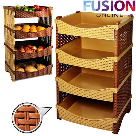 Fruit Storage Racks by 4 Tier Rattan Plastic Vegetable Fruit Rack Basket Kitchen Storage Shelves