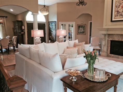 Cozy Living Room With Sectional Slipcovered Sectional In Cozy Living Room Traditional