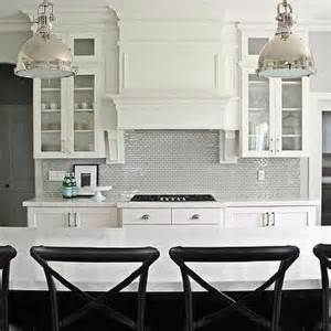 gray brick backsplash black and white kitchen with stainless steel mini brick