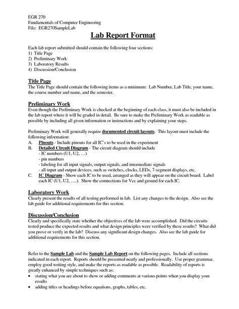 sle results section of lab report engineering design report template 28 images project