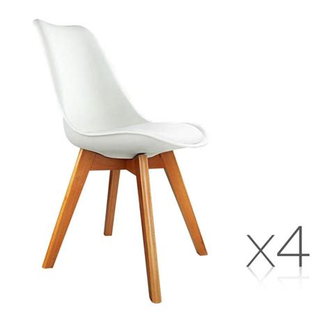 white chair dining set 4x replica eames pu leather dining chairs in white buy
