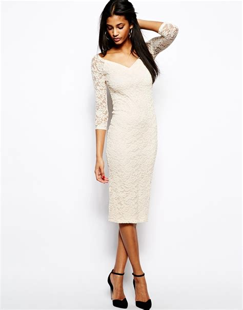 Lace Midi Dress Bysi lyst asos the shoulder midi lace bodycon dress in white