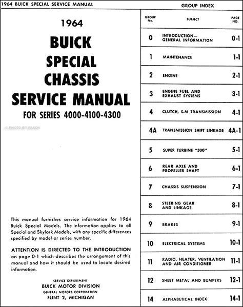 car repair manuals download 1962 buick special lane departure warning 1964 buick special deluxe skylark repair shop manual original