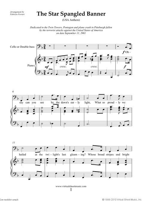 The Star Spangled Banner (in F) free sheet music for cello