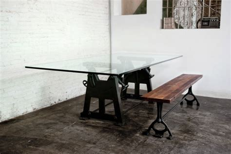 industrial glass top dining table industrial dining