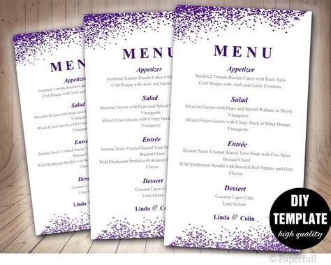 diy menu card template wedding menu card template diy wedding menu template