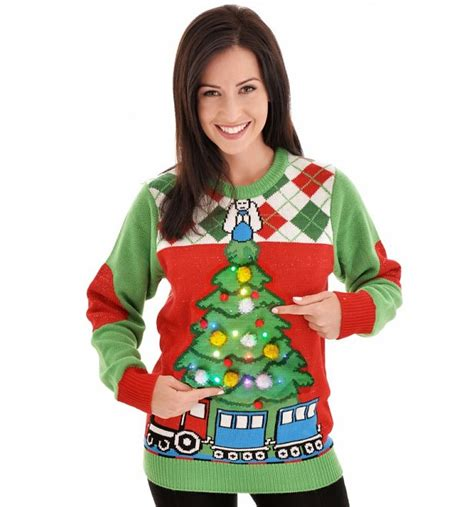 Retro Light Up Tree And Train Knitted Jumper From Cheesy Light Up Jumper Uk