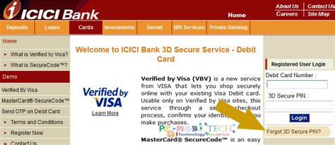 how to make bank card create change and reset 3d secure pin icici bank debit