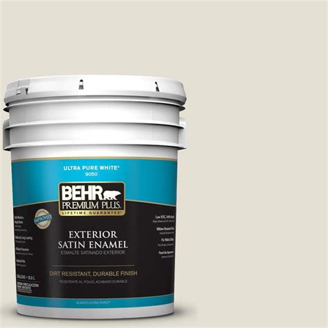 behr premium plus 5 gal n310 1 sand drift satin enamel exterior paint 905005 the home depot