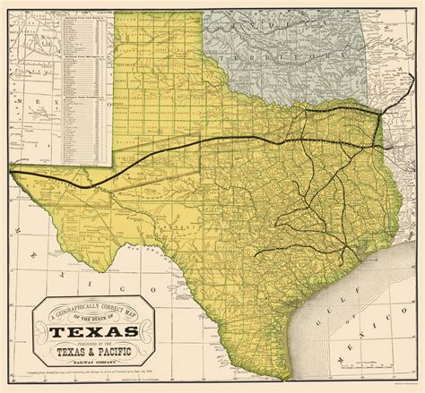 texas railroad maps railroad maps texas geographical map by texas pacific railway company 1876